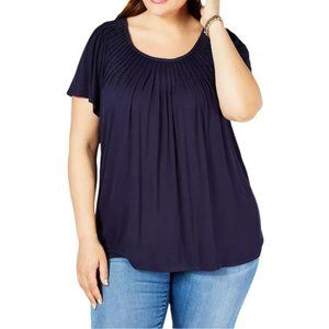 Style & Co. PLUS Size Navy Blue Top Blouse